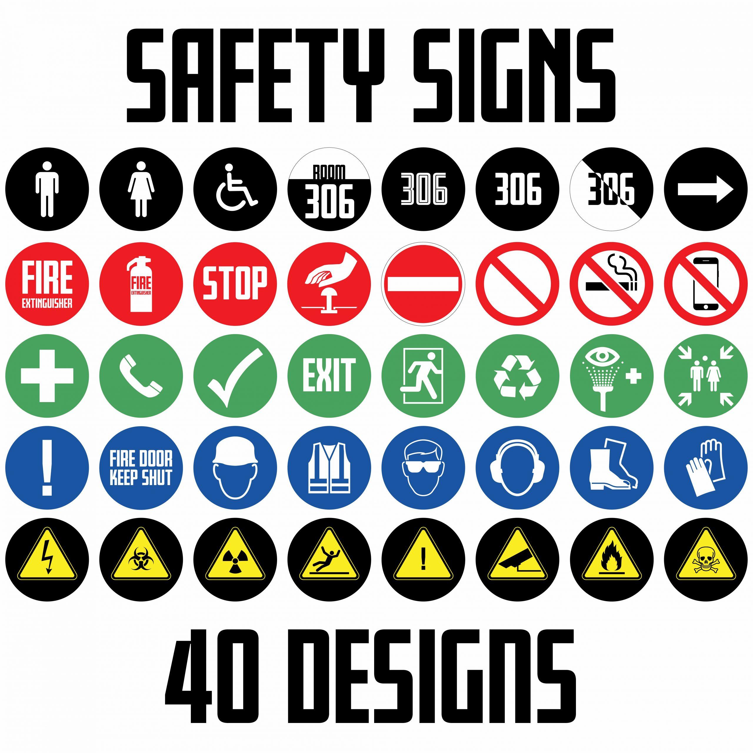 Safety Signs Printed 150mm Circle 40 Designs Way Signage